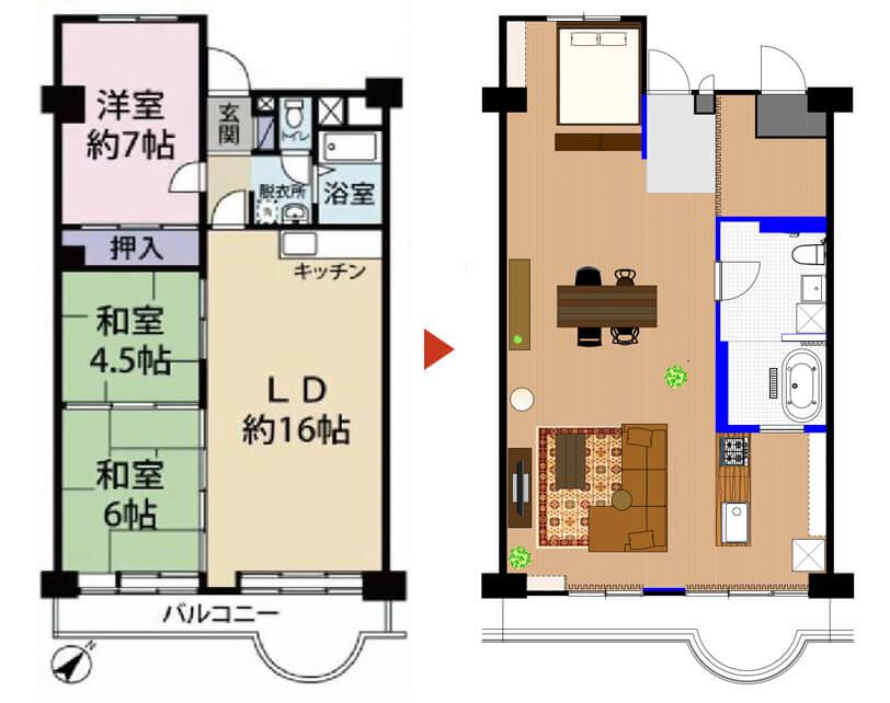 埼玉県武蔵浦和の中古マンションのリノベーションのビフォーアフター